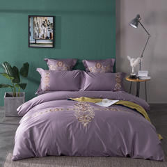 2018新款60s长绒棉绣花四六件套床单床笠款 1.5/1.8米床单款 爱尼雅-紫