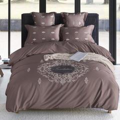 2018新款60s长绒棉绣花四六件套床单床笠款 1.5/1.8米床单款 奥林达-深咖