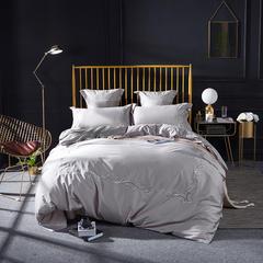 2018新款60s长绒棉绣花四六件套床单床笠款 1.5/1.8米床单款 克罗丽-灰