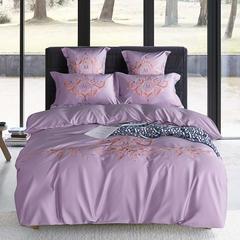 2018新款60s长绒棉绣花四六件套床单床笠款 1.5/1.8米床单款 纳尼斯-紫