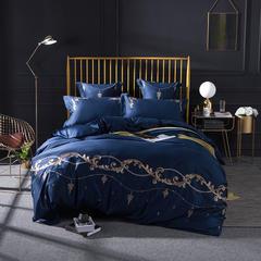 2018新款60s长绒棉绣花四六件套床单床笠款 1.5/1.8米床单款 赛洛华庭-蓝