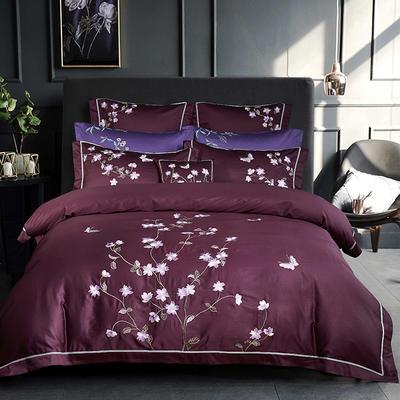 2018秋冬新款60s长绒棉绣花四六件套床单床笠款 1.5/1.8米床单款 方垫(/对)