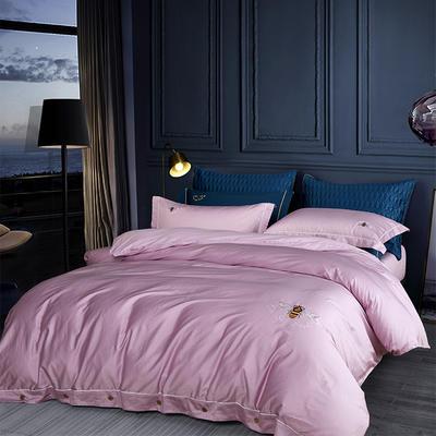 2018新款60S长绒棉绣花四件套 1.5m(5英尺)床 浓情蜜意 粉紫
