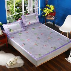 凉席1.8m床可折叠提花冰丝席三件套1.5夏季单人学生宿舍0.9米1.2席子 2.0m*2.2m 花熙