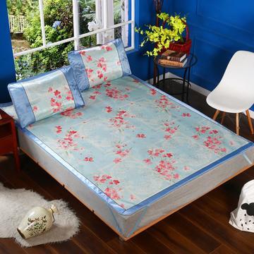 凉席1.8m床可折叠提花冰丝席三件套1.5夏季单人学生宿舍0.9米1.2席子