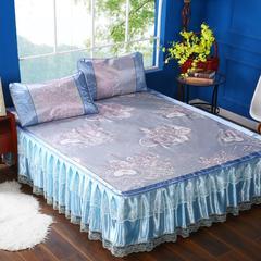 韩式蕾丝床裙款凉席 2.0*2.2m 爱丽丝-蓝