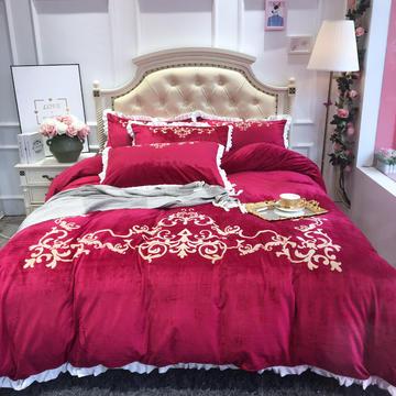 2018水晶绒四件套 双面绒款 150x200cm (单品床笠款) 女王陛下 酒红