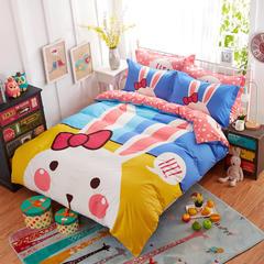 全棉纯棉时尚卡通儿童四件套活力青春套件       米菲兔 1.8m(6英尺)床 米菲兔