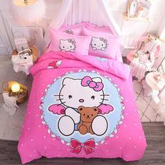 纯棉印花四件套宜家风清新卡通花卉时尚套件    抱抱熊 1.5m(5英尺)床 粉色天使