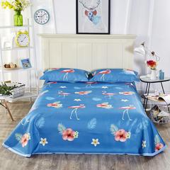 (总1)可水洗冰丝席床单款凉席凉感空调软席夏席子三件套数码印花 2.0m(6.6英尺)床 梦幻森林-粉