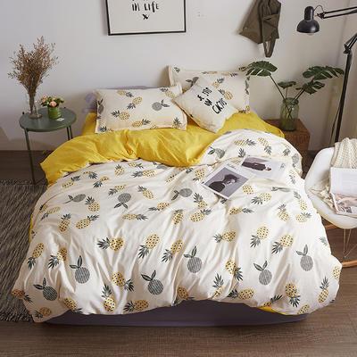 水洗棉AB版四件套 1.2m(4英尺)床 菠萝