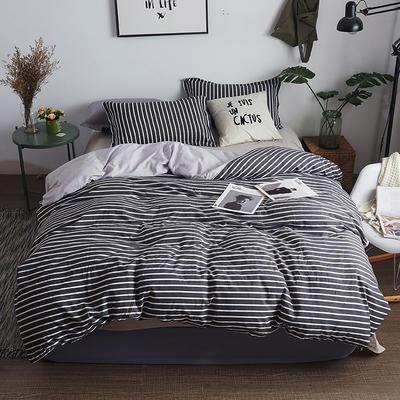 水洗棉AB版四件套 1.2m(4英尺)床 灰条