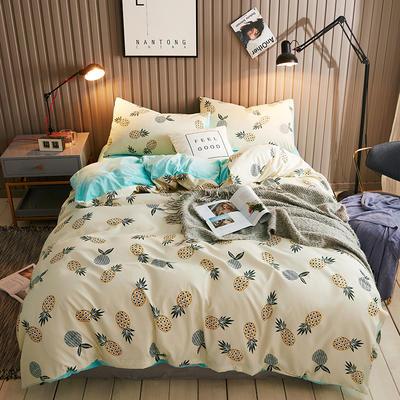 2018新款水晶绒四件套 1.5m(5英尺)床 菠萝蜜