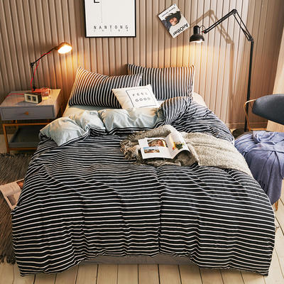 2018新款水晶绒四件套 1.5m(5英尺)床 条纹(黑)