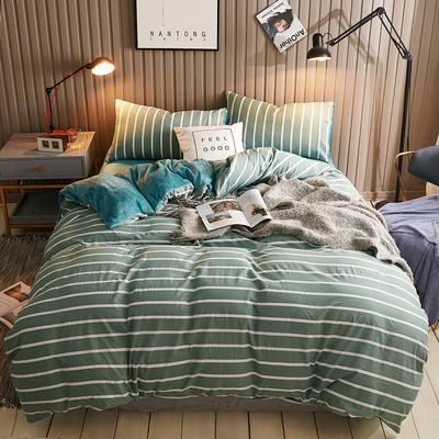 2018新款水晶绒四件套 1.5m(5英尺)床 条纹(绿)