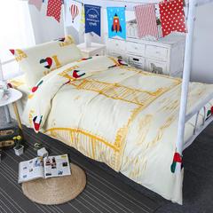 超柔活性磨毛三件套 1.2m(4英尺)床 帆船-米黄