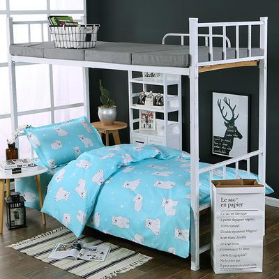 超柔活性磨毛三件套 1.2m(4英尺)床 熊宝宝-蓝