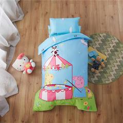 梵赫家纺    大版系列幼儿园套件 棉花子母款七件套 小猪佩奇-蓝