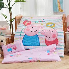 梵赫家纺    大版夹棉系列婴童用品幼儿园套件 棉花布包款六件套 彩条佩奇