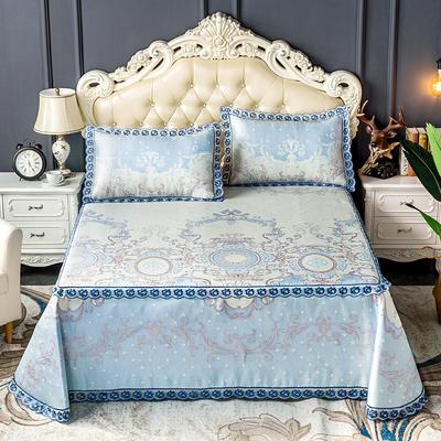 床笠式床单冰丝凉席(3件套) 150*200/230*240 凯瑟琳-紫