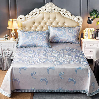 轻奢提花床裙(提花冰丝席3件套) 250*250 欧斯曼-粉蓝