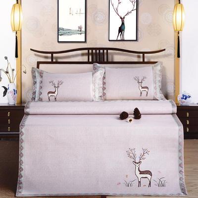 印尼绣花凉席(三件套) 180*200 小鹿  粉紫