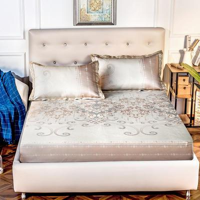 2019新品床包款提花冰丝席三件套 150x200+28cm(笠高28cm) 蒂凡尼