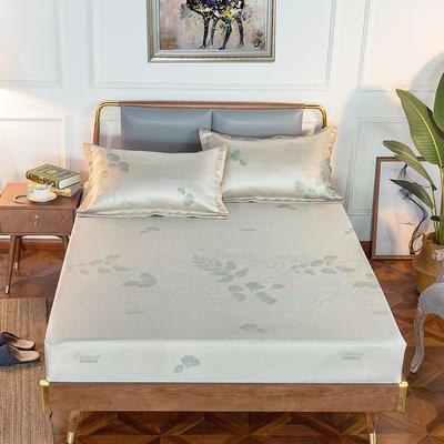 2019新品床包款提花冰丝席三件套 150x200+28cm(笠高28cm) 如茵-灰