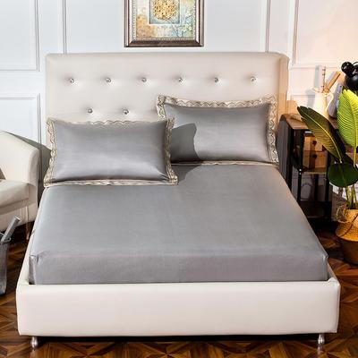 2019新品床包款提花冰丝席三件套 150x200+28cm(笠高28cm) 唯美-咖