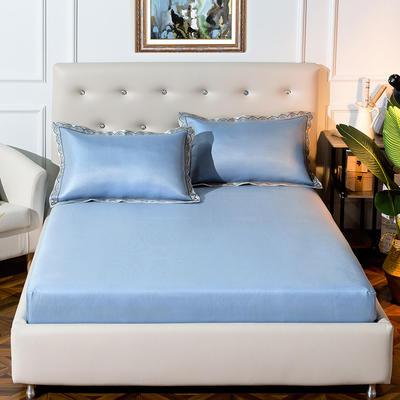 2019新品床包款提花冰丝席三件套 150x200+28cm(笠高28cm) 唯美-蓝