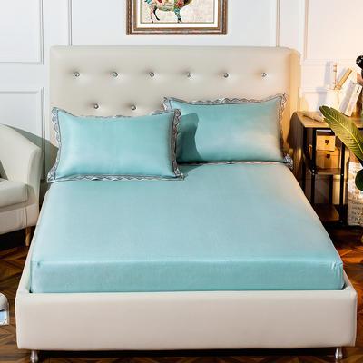 2019新品床包款提花冰丝席三件套 150x200+28cm(笠高28cm) 唯美-绿