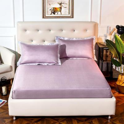 2019新品床包款提花冰丝席三件套 150x200+28cm(笠高28cm) 唯美-紫