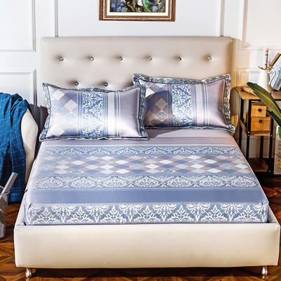 2019新品床包款提花冰丝席三件套 150x200+28cm(笠高28cm) 蔚蓝