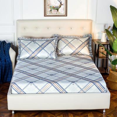 2019新品床包款印花冰丝席三件套 150x200+28cm(笠高28cm) 英伦情怀