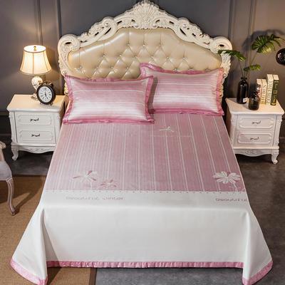 2019新品床单款提花冰丝席三件套 250x250cm 朵儿-粉色