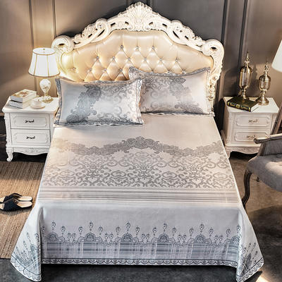 2019新品床单款提花冰丝席三件套 250x250cm 欧丽雅-灰蓝