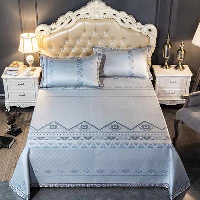2019新品床单款提花冰丝席三件套 250x250cm 情定纳西-灰蓝