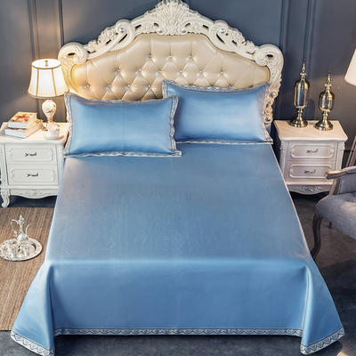 2019新品床单款提花冰丝席三件套 250x250cm 唯美-蓝