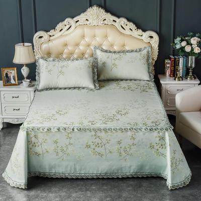 2019新品床笠式床单提花冰丝凉席三件套 150x200+28cm(笠高28cm) 阿娜多姿 绿