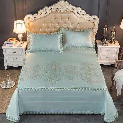 2019新品床笠式床单提花冰丝凉席三件套 150x200+28cm(笠高28cm) 丽娜-绿色