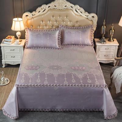 2019新品床笠式床单提花冰丝凉席三件套 150x200+28cm(笠高28cm) 瑞卡-粉紫