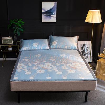 2019新品轻奢提花冰丝床席三件套 150x200cm 诗语-粉蓝
