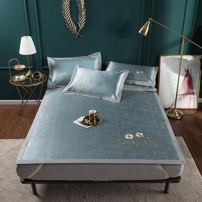2020新款轻奢提花床席 1.8m(6英尺)床 冰洁绣花-翡翠绿