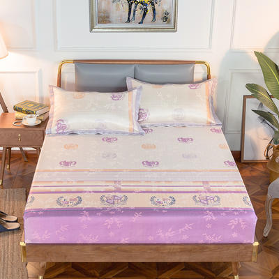 2020新款床包式提花冰丝席 1.5m(5英尺)床 骑士勋章-紫