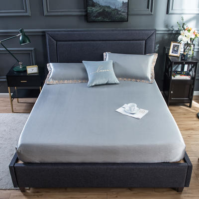 2020新款床包式提花冰丝席 1.5m(5英尺)床 唯美-咖灰