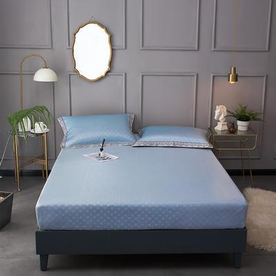 2020新款床包式提花冰丝席 1.8m(6英尺)床 希熙-蓝