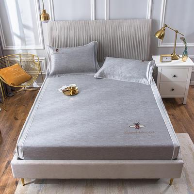 2020新款冰丝床笠席 1.8m(6英尺)床 甜蜜蜜-咖灰
