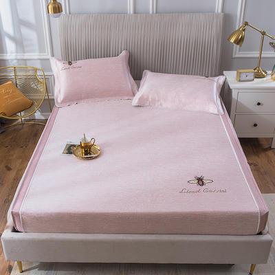 2020新款冰丝床笠席 1.8m(6英尺)床 甜蜜蜜-嫩粉
