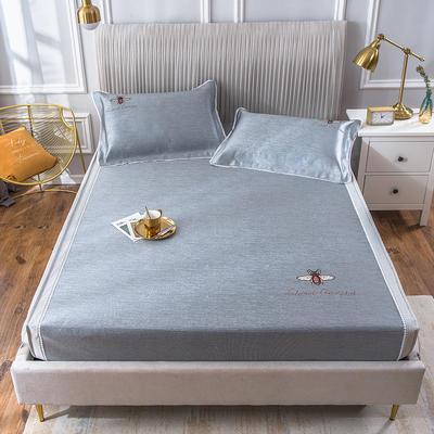 2020新款冰丝床笠席 1.8m(6英尺)床 甜蜜蜜-雾蓝