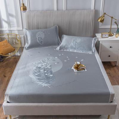 2020新款冰丝床笠席 1.8m(6英尺)床 追月-蓝灰